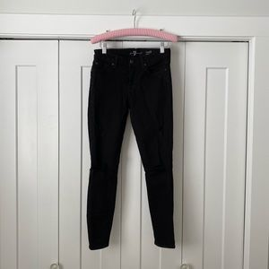 Black Distressed 7 for All Mankind Skinny Jeans